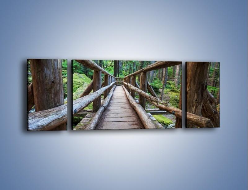 Obraz na płótnie – Mostek z drewnianych bali – trzyczęściowy KN1207AW5