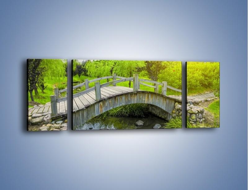 Obraz na płótnie – Mały mostek przez rzeczkę – trzyczęściowy KN1254AW5