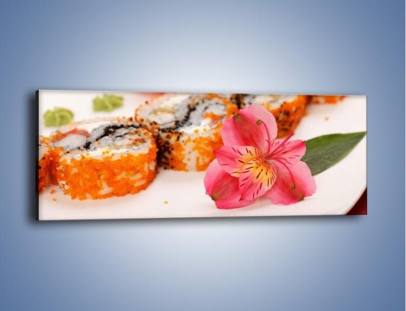 Obraz na płótnie – Sushi z kwiatem – jednoczęściowy panoramiczny JN354