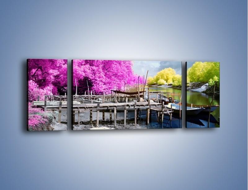 Obraz na płótnie – Wyraźne kolory w szarym tle – trzyczęściowy KN1334AW5