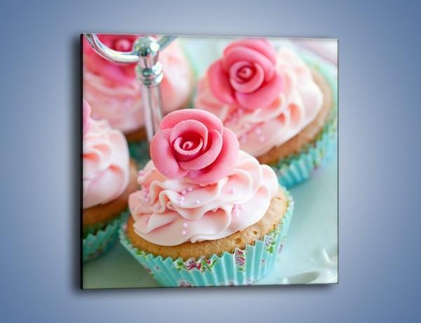 Obraz na płótnie – Różowo-kwiatowe babeczki – jednoczęściowy kwadratowy JN067