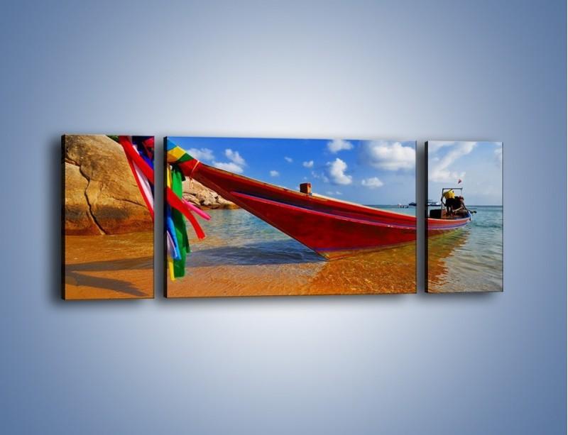 Obraz na płótnie – Kolorowa łódź na brzegu – trzyczęściowy KN415W5