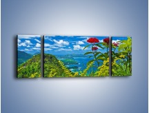 Obraz na płótnie – Bordowe kwiaty w górskim krajobrazie – trzyczęściowy KN561W5