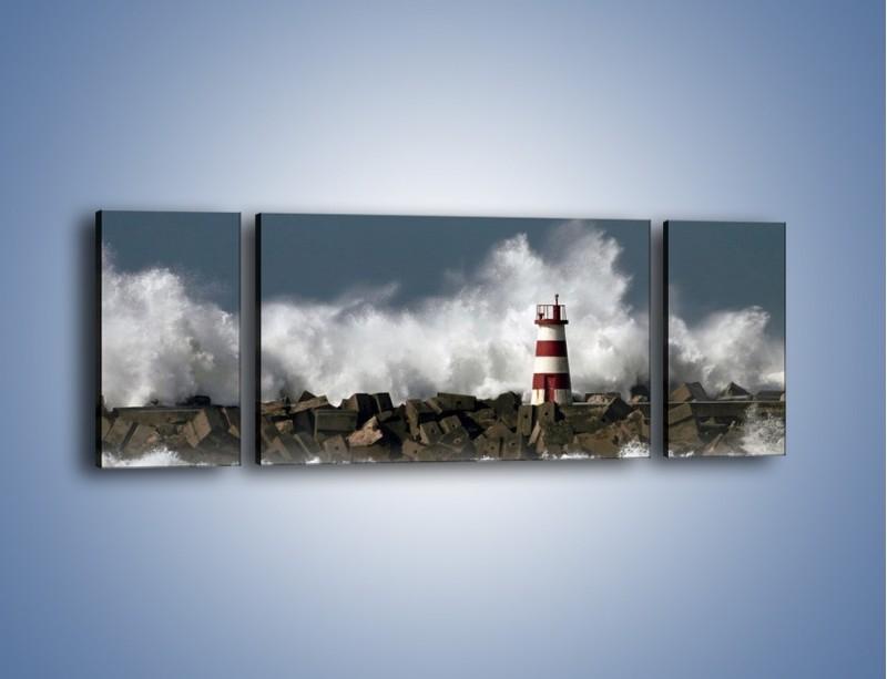 Obraz na płótnie – Latarnia morska w sztormie – trzyczęściowy KN626W5