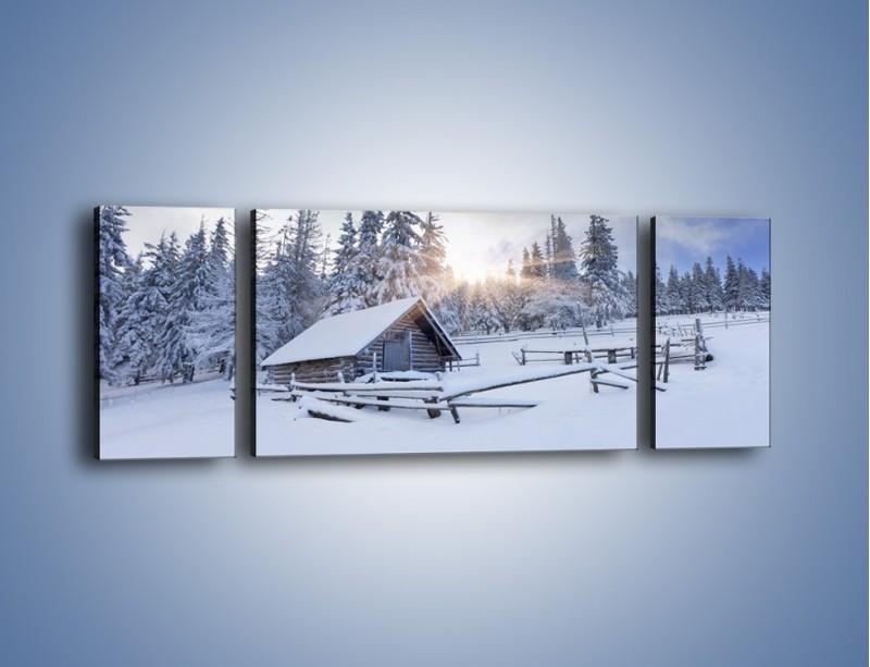 Obraz na płótnie – Chatka zatopiona w śniegu – trzyczęściowy KN696W5
