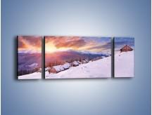 Obraz na płótnie – Chatka w śnieżnym dywanie – trzyczęściowy KN725W5