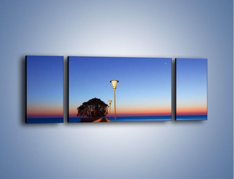 Obraz na płótnie – Wieczorny spacer po tafli morza – trzyczęściowy KN759W5