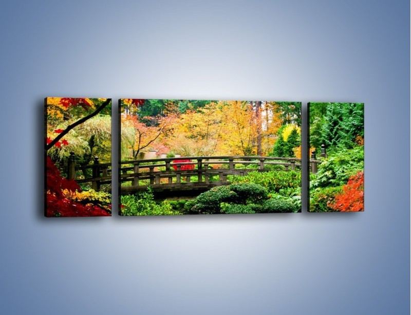 Obraz na płótnie – Mostem do roślinnego raju – trzyczęściowy KN782W5