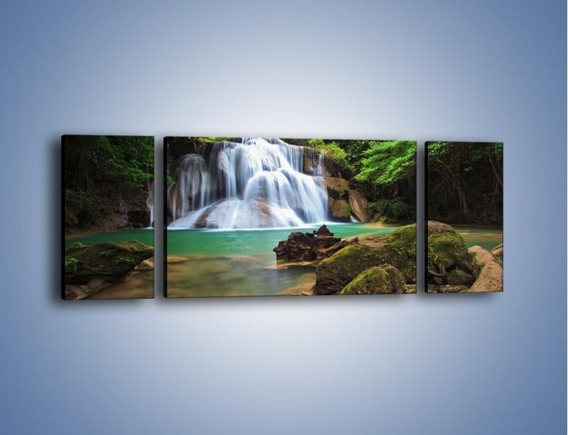 Obraz na płótnie – Drzewa schowane za wodospadem – trzyczęściowy KN792W5