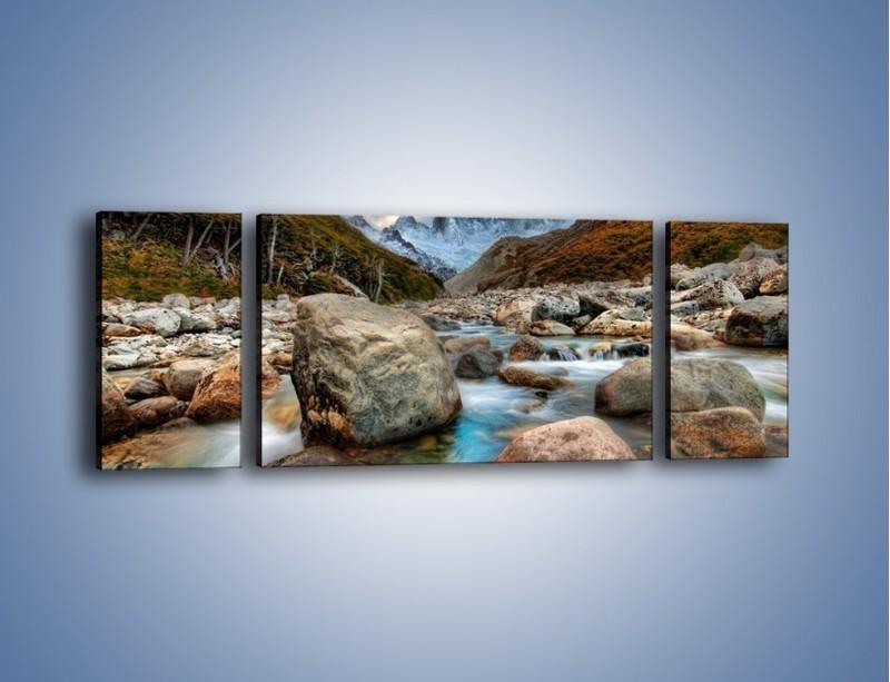 Obraz na płótnie – Niebezpieczny spacer po mokrych kamieniach – trzyczęściowy KN810W5