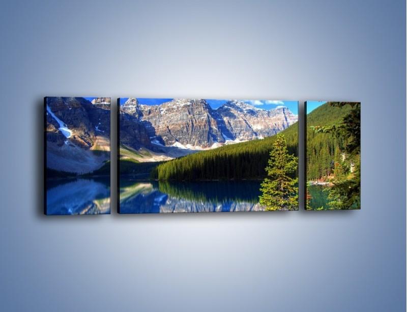Obraz na płótnie – Góry i ich wodne odbicie – trzyczęściowy KN839W5