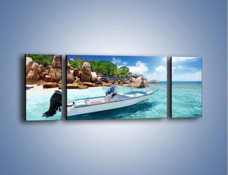 Obraz na płótnie – Błękit w wodzie i niebie – trzyczęściowy KN852W5