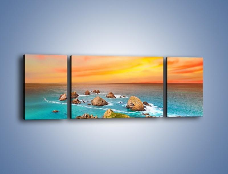 Obraz na płótnie – Kolory rozpalonego nieba nad wodą – trzyczęściowy KN879W5