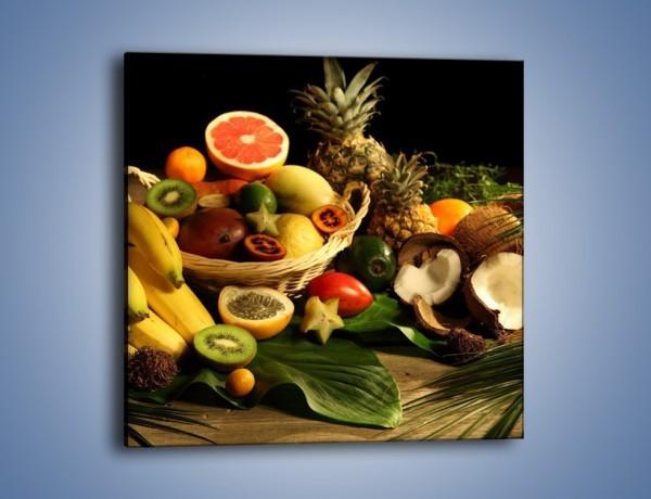 Obraz na płótnie – Kosz egzotycznych owoców – jednoczęściowy kwadratowy JN074