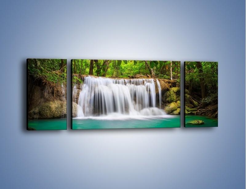 Obraz na płótnie – Kąpiel w środku lasu – trzyczęściowy KN995W5
