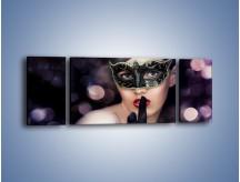 Obraz na płótnie – Dziewczyna w czarnej masce – trzyczęściowy L030W5