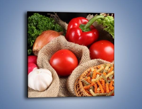 Obraz na płótnie – Makaron z warzywami – jednoczęściowy kwadratowy JN076