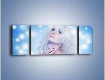 Obraz na płótnie – Biała dama i światełka – trzyczęściowy L318W5
