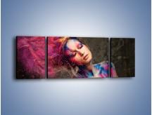 Obraz na płótnie – Kobiece kolory na ciele – trzyczęściowy L340W5