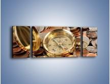 Obraz na płótnie – Kompas zatopiony w monetach – trzyczęściowy O089W5