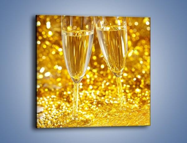 Obraz na płótnie – Złociste bąbelki szampana – jednoczęściowy kwadratowy JN078