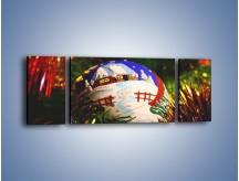 Obraz na płótnie – Bombka ręcznie malowana – trzyczęściowy O168W5