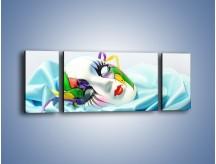Obraz na płótnie – Kolorowa maska na błękicie – trzyczęściowy O180W5