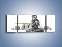 Obraz na płótnie – Budda wśród szarości – trzyczęściowy O220W5