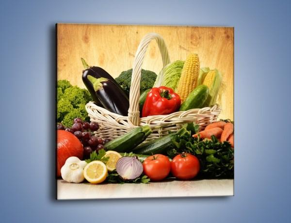 Obraz na płótnie – Kosz pełen warzywnych witamin – jednoczęściowy kwadratowy JN081