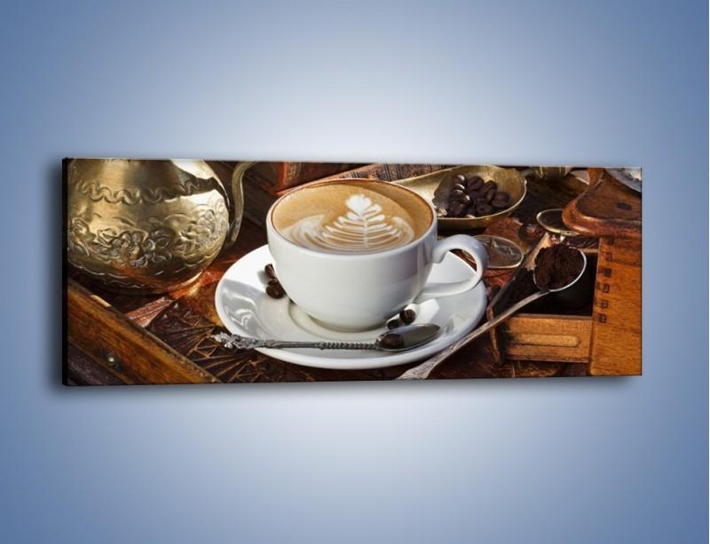 Obraz na płótnie – Wspomnienie przy kawie – jednoczęściowy panoramiczny JN377