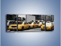 Obraz na płótnie – Amerykańskie taksówki w korku ulicznym – trzyczęściowy TM219W5