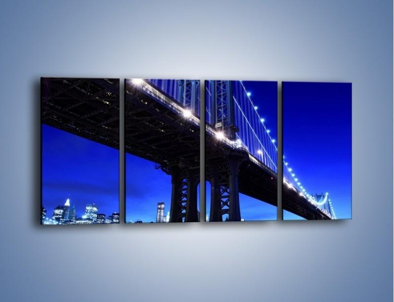 Obraz na płótnie – Oświetlony most wieczorem – czteroczęściowy AM003W1
