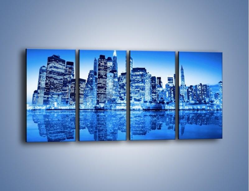 Obraz na płótnie – Odbicie miasta w tafli wody – czteroczęściowy AM004W1
