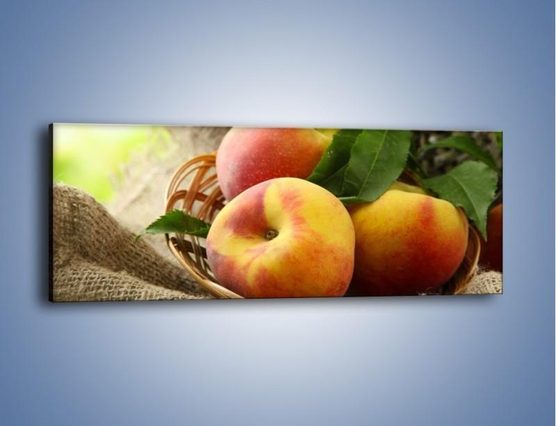 Obraz na płótnie – Dojrzałe jabłka w koszu – jednoczęściowy panoramiczny JN390