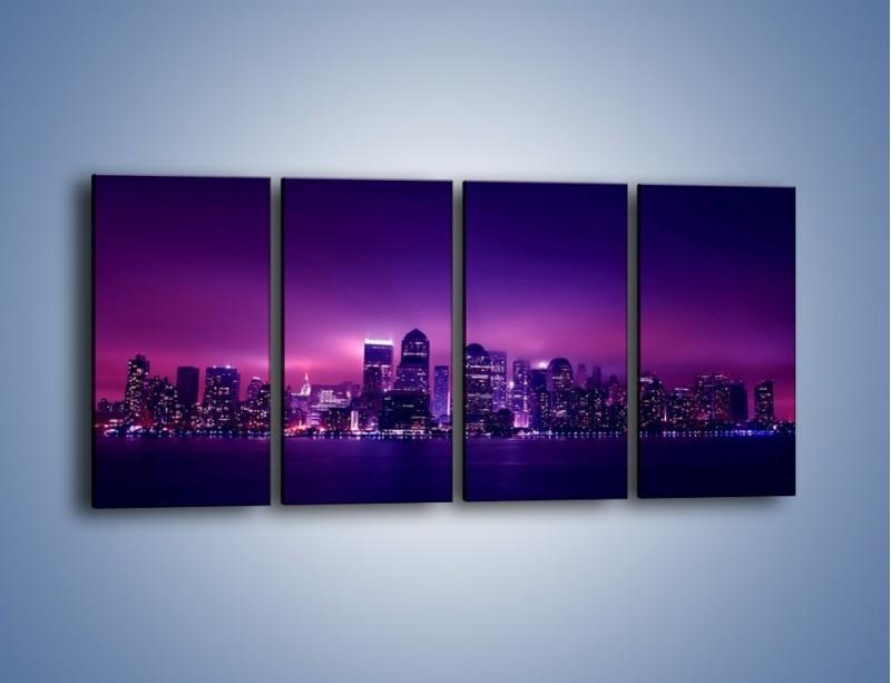 Obraz na płótnie – Wieżowce w odcieniach fioletu – czteroczęściowy AM008W1