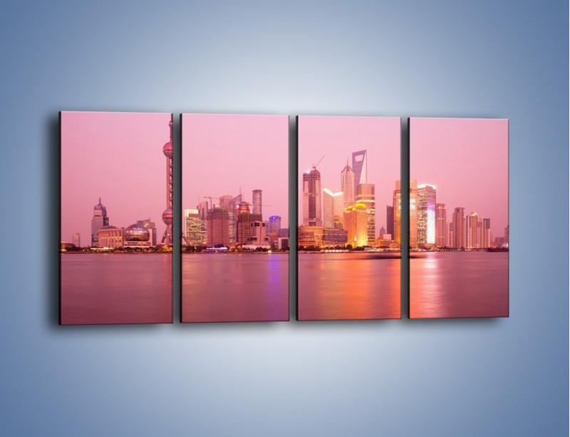 Obraz na płótnie – Miasto o poranku w odcieniach różu – czteroczęściowy AM020W1
