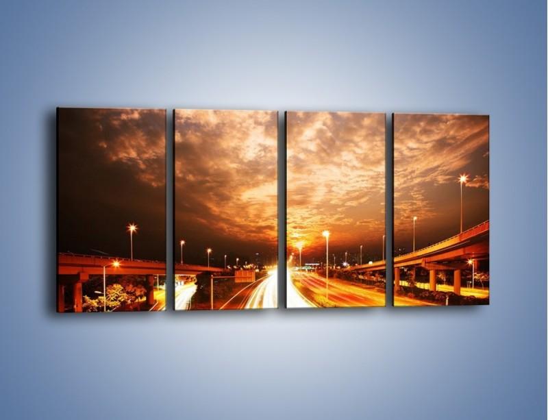 Obraz na płótnie – Oświetlona autostrada w ruchu – czteroczęściowy AM021W1