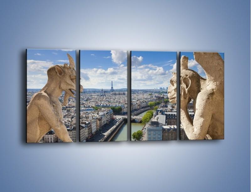 Obraz na płótnie – Kamienne gargulce nad Paryżem – czteroczęściowy AM037W1