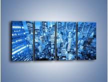 Obraz na płótnie – Centrum miasta w niebieskich kolorach – czteroczęściowy AM042W1