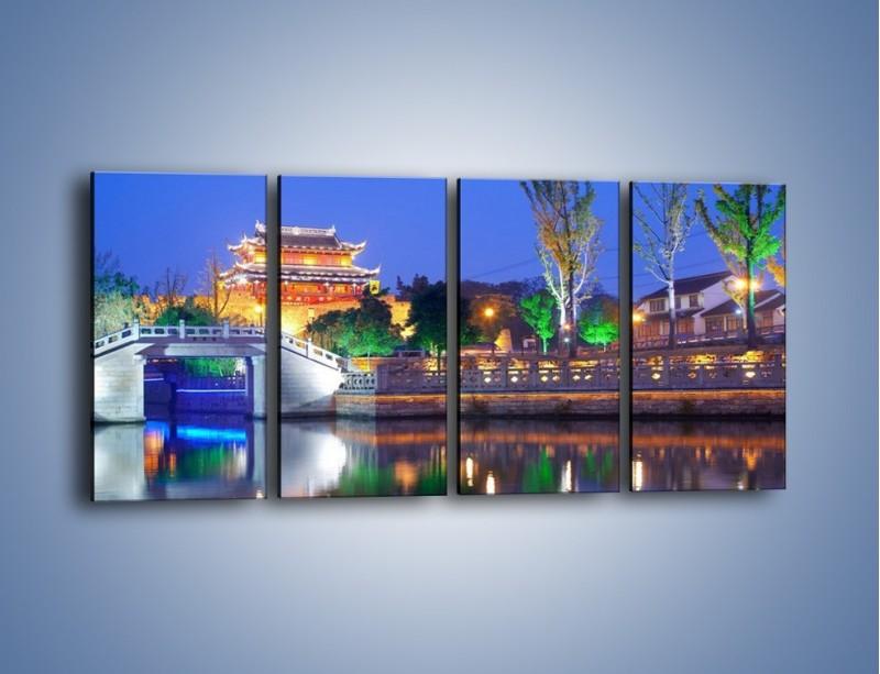 Obraz na płótnie – Dom w Japonii w świetle lamp nocnych – czteroczęściowy AM046W1