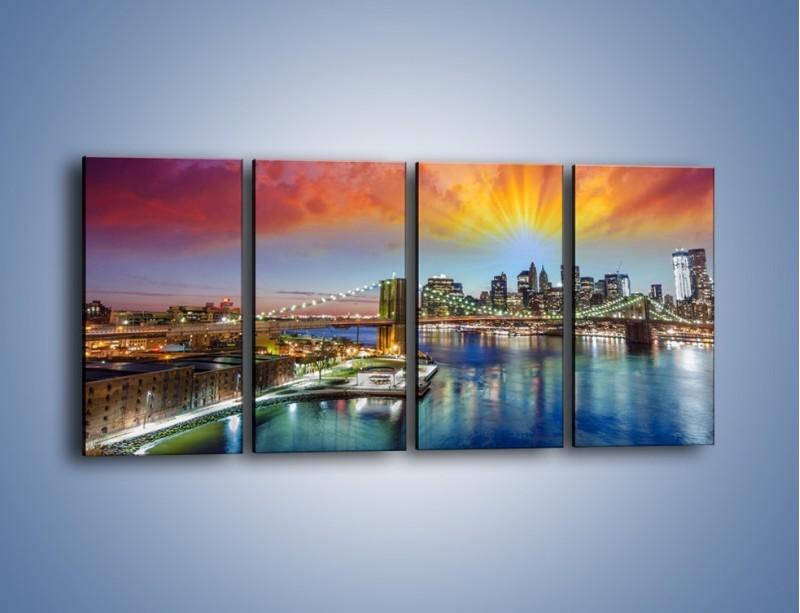 Obraz na płótnie – Most Brookliński pod kolorowym niebem – czteroczęściowy AM047W1