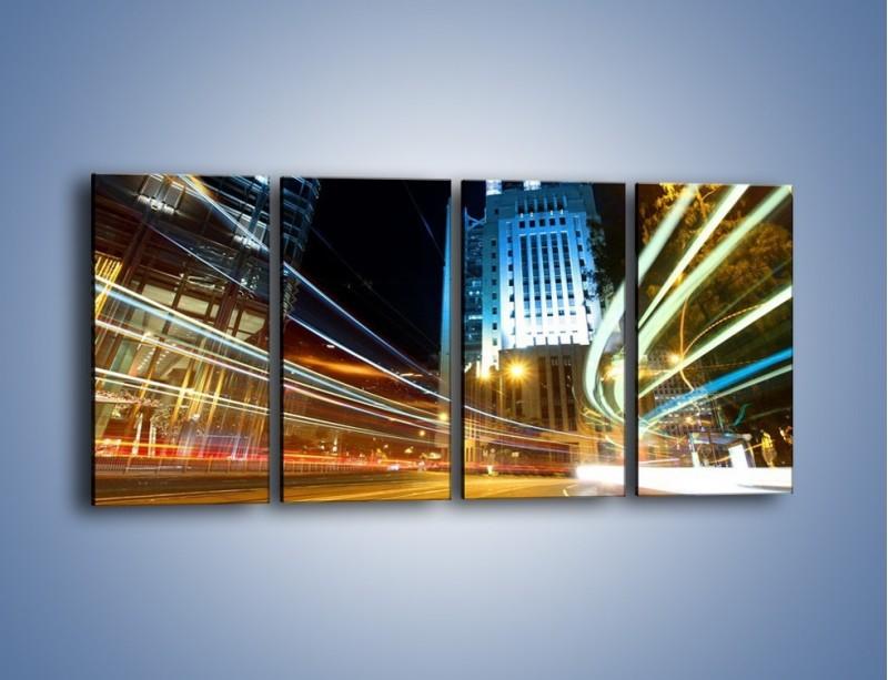 Obraz na płótnie – Światła w ruchu ulicznym – czteroczęściowy AM048W1