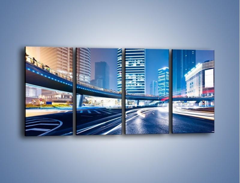 Obraz na płótnie – Wieczorny ruch uliczny w centrum miasta – czteroczęściowy AM051W1