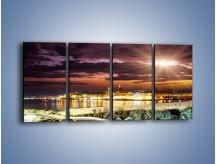 Obraz na płótnie – Błysk światła nad miastem wieczorową porą – czteroczęściowy AM063W1