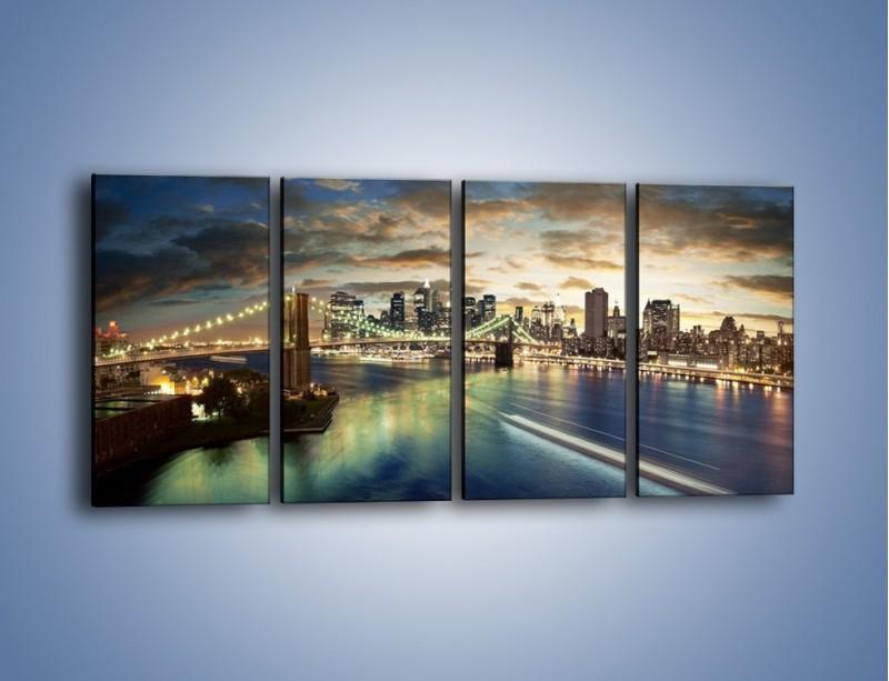 Obraz na płótnie – Oświetlony most w Nowym Jorku – czteroczęściowy AM066W1