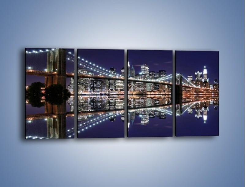Obraz na płótnie – Most Brookliński w lustrzanym odbiciu wody – czteroczęściowy AM067W1