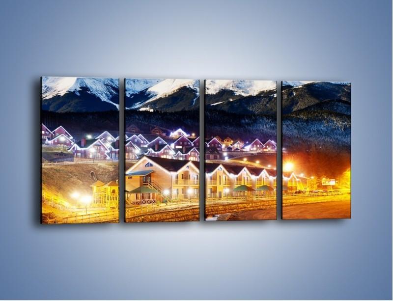 Obraz na płótnie – Oświetlone domki pod górami – czteroczęściowy AM070W1