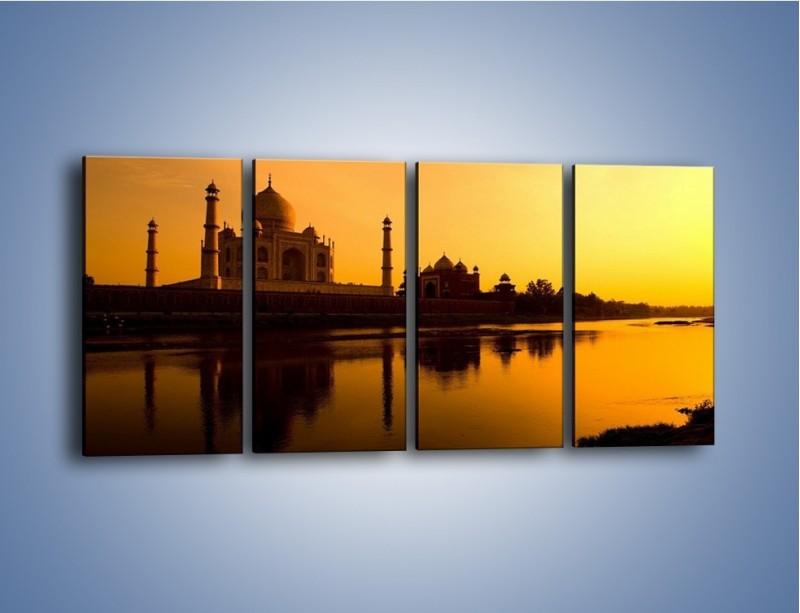 Obraz na płótnie – Taj Mahal o zachodzie słońca – czteroczęściowy AM075W1