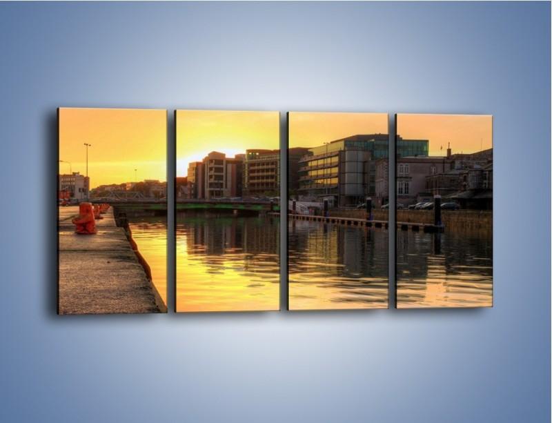 Obraz na płótnie – Kanał portowy o wschodzie słońca – czteroczęściowy AM079W1