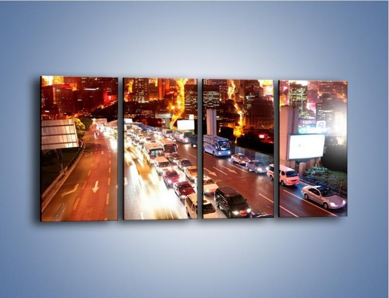 Obraz na płótnie – Wyjazd z zatłoczonego miasta – czteroczęściowy AM080W1